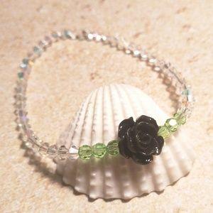Jewelry - Black Rose and Czech Beads Bracelet